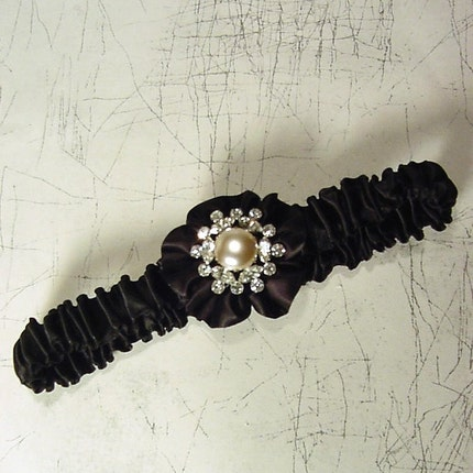 ROYAL BLING in black GARTER  a PETERENE ORIGINAL  rhinestones and crystals and pearls
