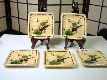 Vintage Japanese Plates-Plum Blossoms