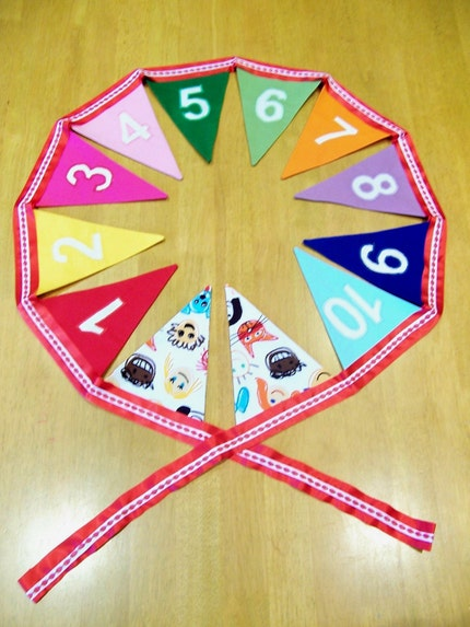 Number Bunting - 1 to 10 in all the Colours of the Rainbow