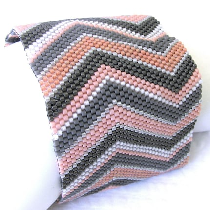 Offset Chevron Peyote Cuff in Your Custom Color Palette (2409)