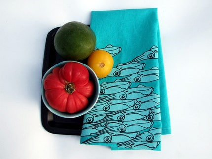 Squid Linens - turquoise - set of two