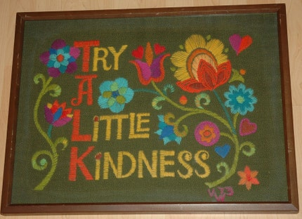 Try A Little Kindness VINTAGE RETRO 70s CREWEL ART FRAMED 18x24