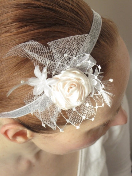 New Innocence ..Silver headband with feathers and tulle