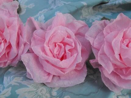 6 Pink Crepe Paper Roses