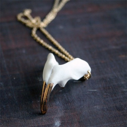 Jaw Pendants with gold vermeil chain.