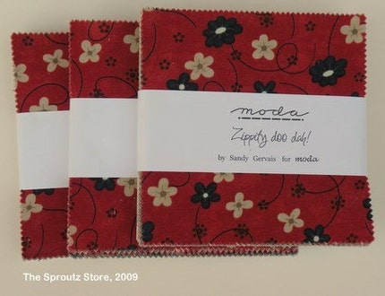 Set of 3, Zippity Doo Dah Charm Packs by Sandy Gervais for Moda Fabrics