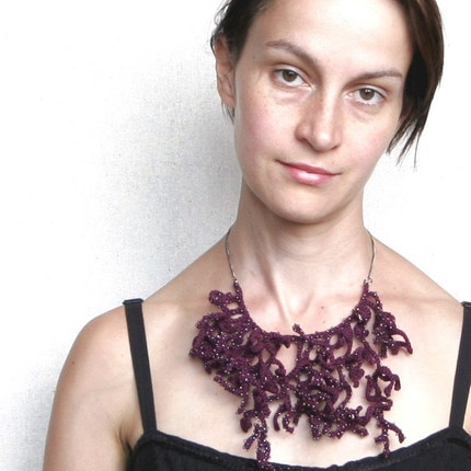 Crocheted beaded necklace in organic form 'Purple corals'