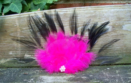 Cotton Candy Delight - Feather Fascinator - Haute Couture - Wedding - Flapper - Rainbow Bright - Hand Crafted Feather Hair Adornment - OOAK - Ready to ship