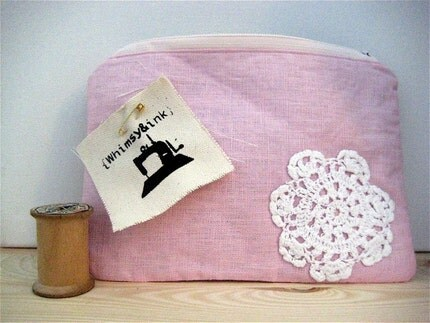 Pretty Pink Linen Zippered Pouch with Vintage Doily Handstitched Applique