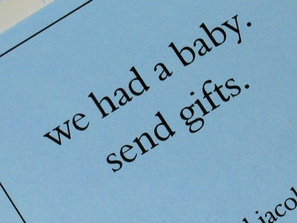 Upfront Baby Announcements - set of 12