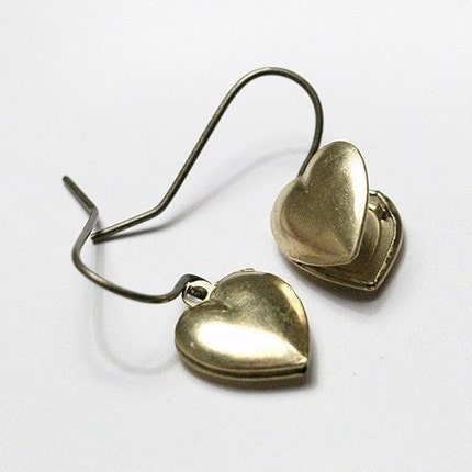 Small Heart Locket Earrings by chrysdesignsjewelry on Etsy