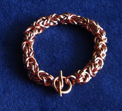 Chunky Copper Chainmaille Byzantine Bracelet w/ Handmade Chunky Clasp