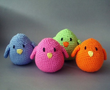 Bird Gang Colorful crocheted amigurumi birds (set of 4)