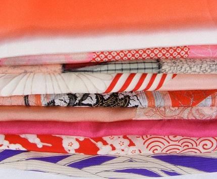 Kimono silk scrap bundle #16