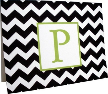 Custom Personalized Notecard Stationery - Modern Zig Zag Black and White and Green