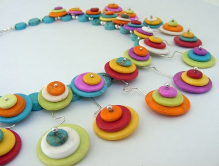 Rainbow Concentric Circles Magnesite Necklace