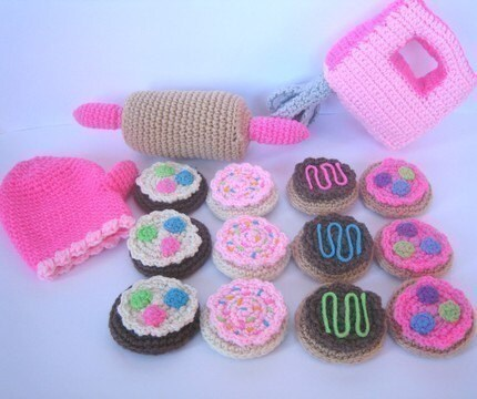 Play Food Crochet Pattern -- Baking Cookies Play Set