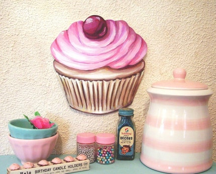JUMBO Original Art PINK frosted CUPCAKE with Cherry Bakery Diner inspired diecut vintage kitchen sign