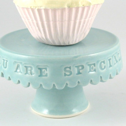 You are special...cupcake stand in aqua.
