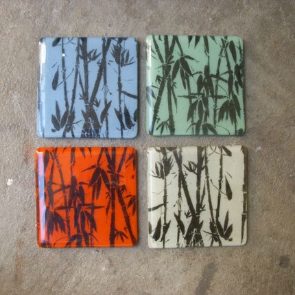 Fun and modern glass coaster set by mediumstomasses on Etsy