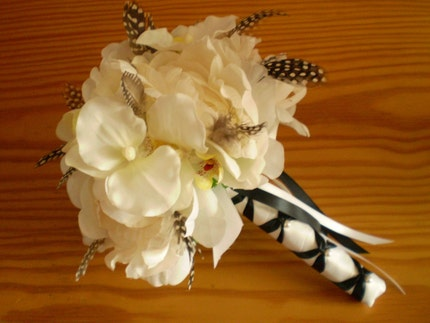 Colors Heavy white satin Black and White Wedding Bouquet by Ar Designs