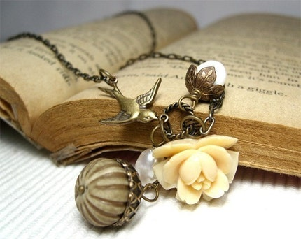 My Little Garden 4. Vintage ivory cream nature necklace with swallow, acorn, leaves, antiqued brass, flower, nut charms