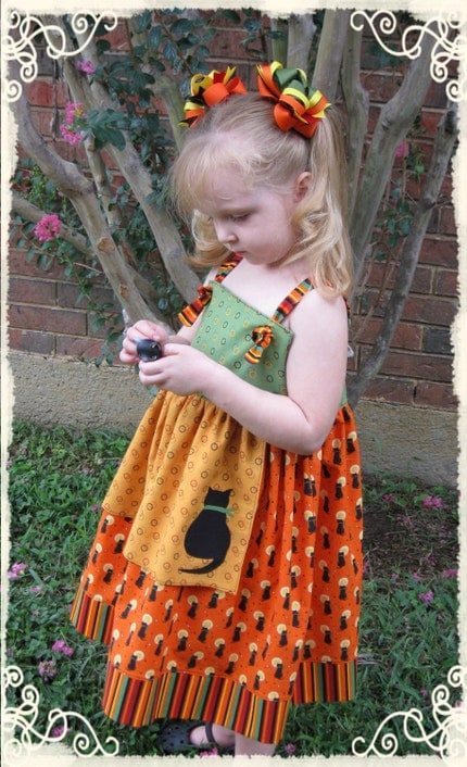 Halloween Kitty Apron Knot Dress