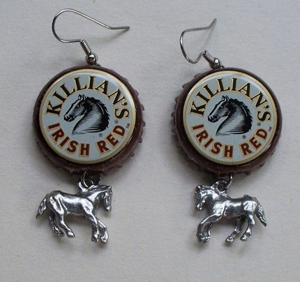 SALE- Horse Lover Bottle Cap Earrings