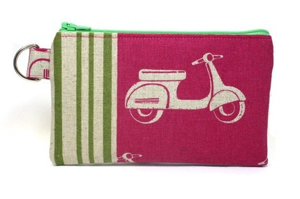 Scooter on Pink Zipper Pouch