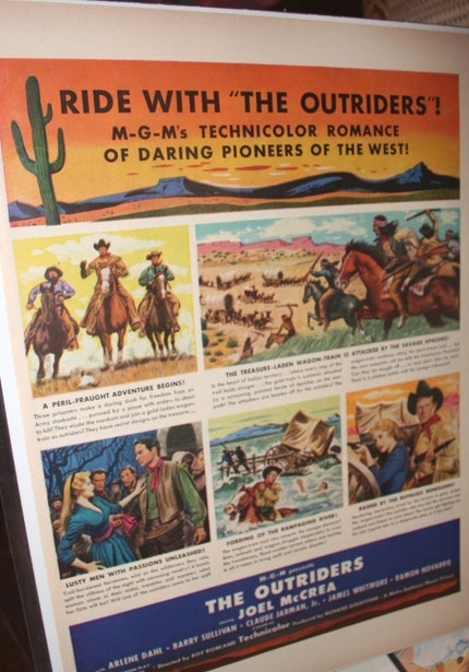 Vintage 1950 movie advertisement THE OUTRIDERS