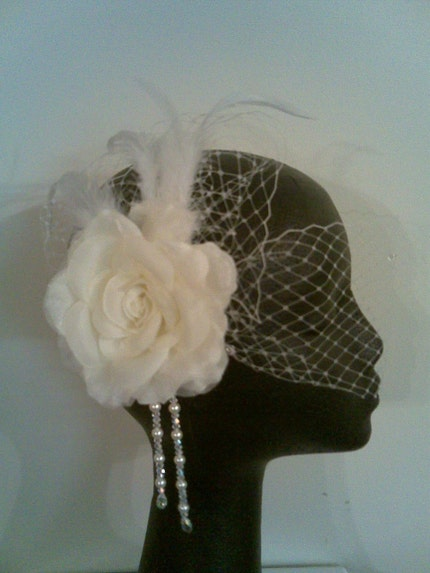 EMILY ELEGANT BIRDCAGE VEIL ,Bride, Flower, Bridal, Hair Clip, Wedding, Custom, Designer, Headpiece, Reception, Hair Piece, Special Occasion, Fascinator from etsy.com