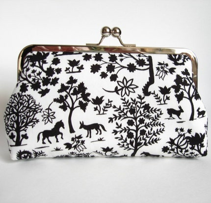 Black and White Forest Silhouette Kisslock Frame Clutch with Red Silk Lining by BrianaEdelmanDesigns on Etsy