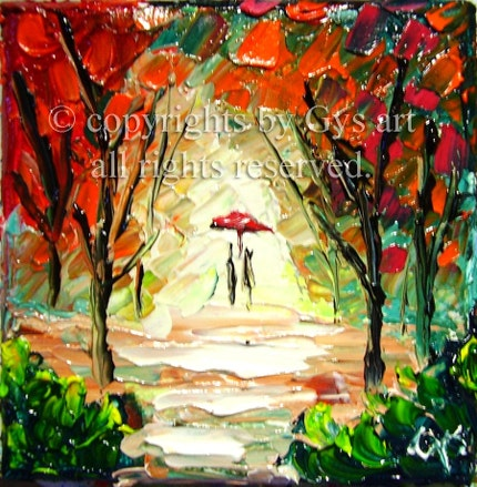 RAIN PARK FOREST LOVERS original impasto oil painting knife texture by GYS ART