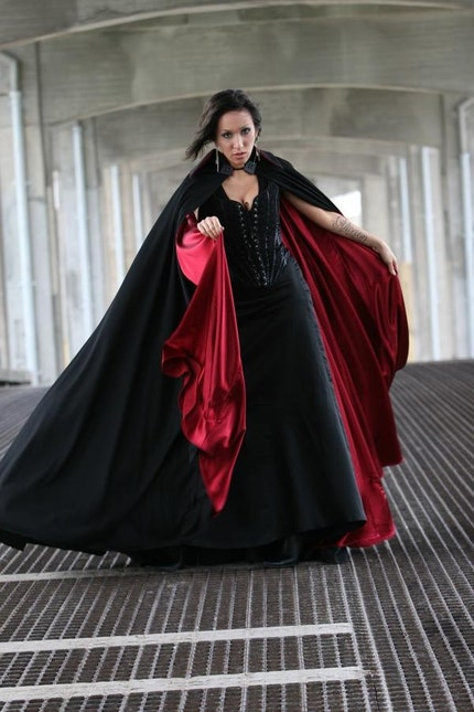 super vampire goth  black and red cloak by OblivionClothing on Etsy from etsy.com