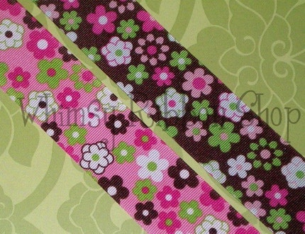 SPECIAL 10  yards BEAUTIFUL Retro Flower POWER BROWN Pink GREEN LIME WHITE HOT PINK  on 1.5 Brown Ribbon HAIR BOWS Scrapbooking Decor SEWING BELTS CRAFTS and  MORE