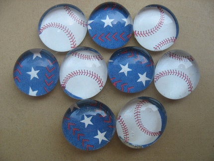 Baseball glass marble magnets