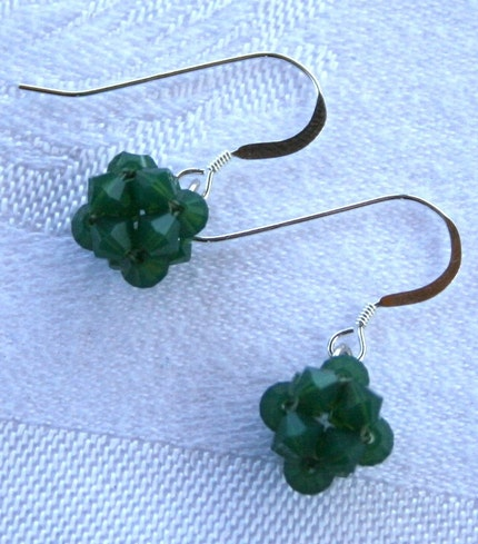 Aunt Dolly's Swarovski Crystal Earrings Opalescent Green