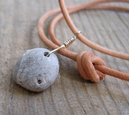 Lake Superior Beach Pebble Necklace.
