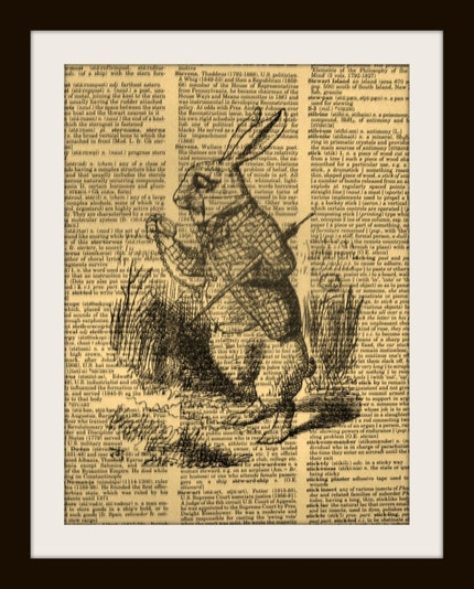 ALICE IN WONDERLAND RABBIT WATCH Print on Vintage Dictionary Page FREE SHIPPING WORLDWIDE