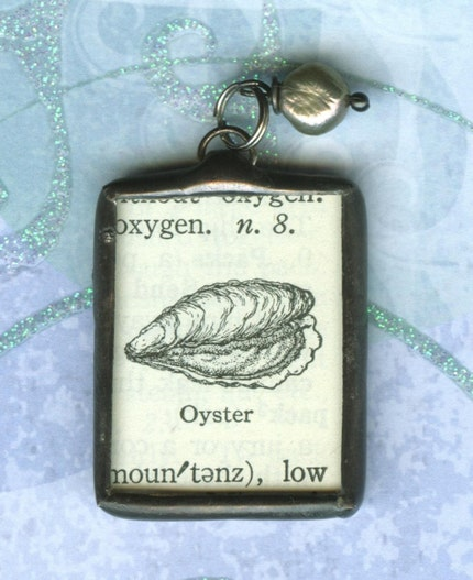 OOAK Vintage Dictionary Oyster Pendant