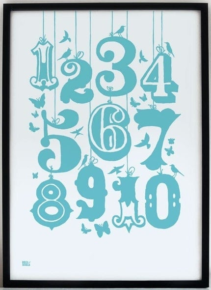 Count numbers, hand pulled screen print onto 100 percent recycled card, azure blue (also in poppy red)