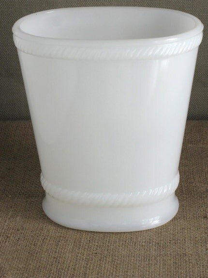 Vase - Milk Glass Oval with Rope Detail