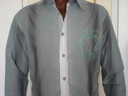 Mens Button Up Diesel Shirt with Screenprint
