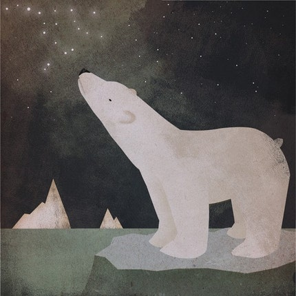 CONSTELLATION Polar Bear graphic art giclee print 12x12 inches FRAMED 20x20 inches signed
