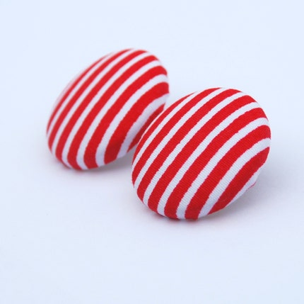 Red and White Stripe - One pair of extra large fabric button earrings