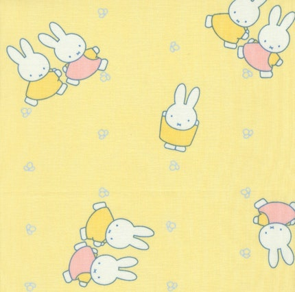 Miffy with Friend on Light Yellow - Japanese Fabric Cotton Half Yard