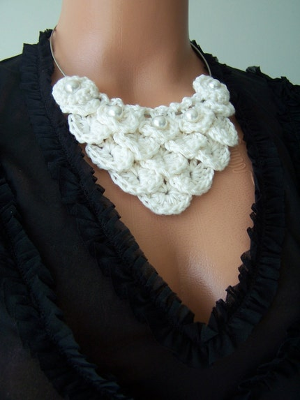 WHITE BAMBOO ,CROCHET NECKLACE ,AOD by ebruk,Earth Day, Mother Day