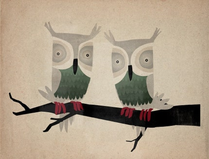 TWO HOOTS original illustration GICLEE owl print CUSTOM FRAMED 13.5 x 15.5 inches SIGNED