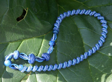 Blue Convertible Beadwoven Cellini Spiral and Lampwork Necklace