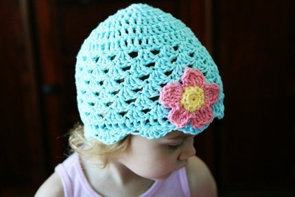 Flower and Shells Beanie in Robins Egg Blue, Toddler and Child Sizes